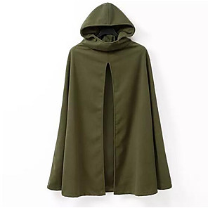 cheap Anime Costumes-Men's Round Neck Cloak / Capes Regular Solid Colored Daily Long Sleeve Cotton Linen Army Green M / L / XL