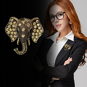 cheap Pins and Brooches-Women's Cubic Zirconia Brooches Vintage Style Stylish Elephant Creative Statement Fashion British Brooch Jewelry Gold Silver For Daily Holiday