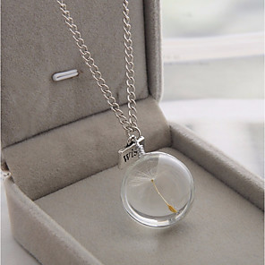 cheap Necklaces-Women's Pendant Necklace Chain Necklace Stylish Cuban Link Ball Dandelion Stylish Simple Sweet Glass Alloy Transparent 60 cm Necklace Jewelry 1pc For Date Work