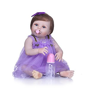 cheap Reborn Doll-NPKCOLLECTION 24 inch NPK DOLL Reborn Doll Girl Doll Baby Girl Reborn Toddler Doll Newborn Gift Artificial Implantation Blue Eyes Full Body Silicone with Clothes and Accessories for Girls' Birthday