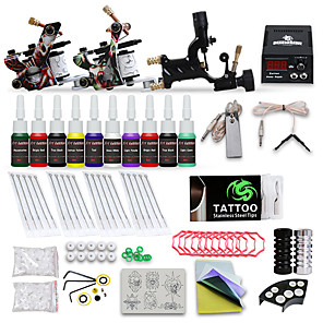 cheap Starter Tattoo Kits-DRAGONHAWK Tattoo Machine Starter Kit - 3 pcs Tattoo Machines with 10 x 5 ml tattoo inks, Professional Level, Adjustable Voltage, Easy to Setup Alloy LCD power supply Case Not Included 2 cast iron