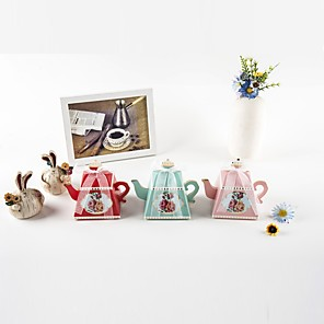 cheap Favor Holders-Cuboid Card Paper Favor Holder with Ribbons Favor Boxes - 12pcs