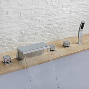 cheap Bathtub Faucets-Bathtub Faucet - Contemporary Chrome Widespread Ceramic Valve Bath Shower Mixer Taps / Three Handles Five Holes