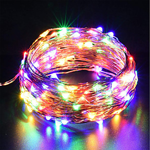 cheap LED String Lights-ZDM USB Copper Wire lights Fairy String 10M/33Ft 100leds with 7 different color RGB change automatically Waterproof Starry Dcor Rope Lights Christmas strip Lights (Automatic change of color)
