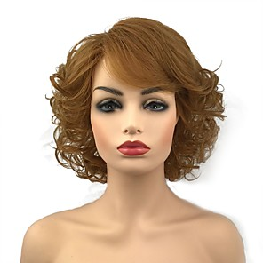 cheap Synthetic Trendy Wigs-Synthetic Wig Curly Middle Part Wig Blonde Short Light Brown Blonde Red Synthetic Hair 10 inch Women's Synthetic Red Blonde