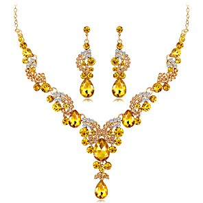 cheap Jewelry Sets-Women's Sapphire Citrine Drop Earrings Statement Necklace Long Ladies Unique Design Elegant Indian fancy Rhinestone Silver Plated Earrings Jewelry Rainbow / Red / Blue For Wedding Evening Party