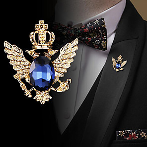 cheap Pins and Brooches-Men's Cubic Zirconia Brooches Retro Stylish Elegant Fashion British Brooch Jewelry Black Blue For Wedding Holiday