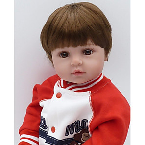cheap Reborn Doll-NPKCOLLECTION 24 inch NPK DOLL Reborn Doll Baby Boy Reborn Toddler Doll Newborn Gift Artificial Implantation Brown Eyes Cloth 3/4 Silicone Limbs and Cotton Filled Body with Clothes and Accessories