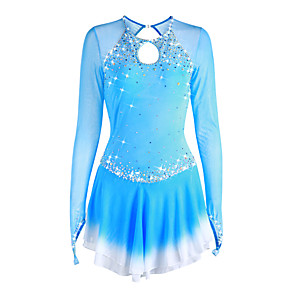 cheap Ice Skating Dresses , Pants & Jackets-Figure Skating Dress Women's Girls' Ice Skating Dress Deep Blue Violet White Halo Dyeing Spandex High Elasticity Competition Skating Wear Handmade Solid Colored Long Sleeve Ice Skating Figure Skating