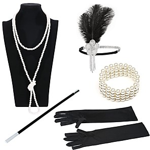 cheap Video Door Phone Systems-The Great Gatsby Charleston 1920s Roaring Twenties Roaring 20s Costume Accessory Sets Flapper Headband Women's Lace up Costume Head Jewelry Vintage Bracelet Pearl Necklace Black / Golden+Black