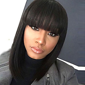 cheap Synthetic Trendy Wigs-Synthetic Wig Straight Kardashian Bob Wig Medium Length Black#1B Synthetic Hair 12 inch Women's Women African American Wig With Bangs Black