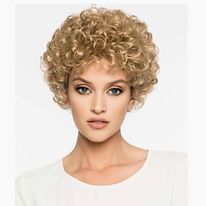 cheap Synthetic Trendy Wigs-Synthetic Wig Curly Pixie Cut Wig Blonde Short Light golden Synthetic Hair 6 inch Women's Synthetic Blonde