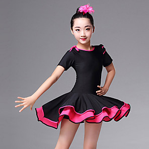 cheap Latin Dancewear-Latin Dance Dress Ruching Girls' Performance Short Sleeve High Spandex