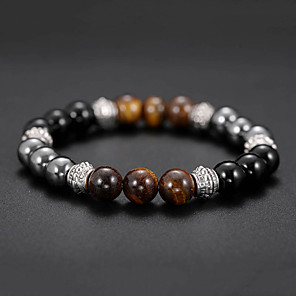 cheap Bracelets-Men's Black Gemstone Tiger's eye Stone Bead Bracelet Bracelet Beaded Stylish Creative Natural Casual / Sporty Fashion Stone Bracelet Jewelry Black For Birthday Daily