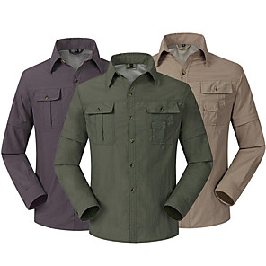 cheap Hiking Shirts-Men's Hiking Shirt / Button Down Shirts Long Sleeve Outdoor UV Resistant Breathable Quick Dry UV Protection Convert to Short Sleeves Shirt Top Autumn / Fall Spring Linen Camping / Hiking Hunting
