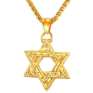 cheap Pendant Necklaces-Men's Pendant Necklace Vintage Style Classic Star Star of David Pentagram Vintage scottish Stainless Steel Rose Gold Black Gold Silver 55 cm Necklace Jewelry 1pc For Gift Daily