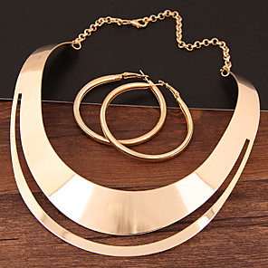 cheap Jewelry Sets-Women's Hoop Earrings Necklace Hollow Statement Ladies Simple European Earrings Jewelry Gold / Silver For Evening Party