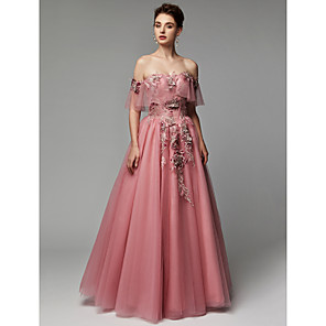 cheap Prom Dresses-Ball Gown Elegant & Luxurious Floral Pastel Colors Quinceanera Dress Off Shoulder Sleeveless Floor Length Lace Tulle with Appliques 2020