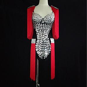 cheap Latin Dancewear-Exotic Dancewear Leotard / Onesie Tassel Crystals / Rhinestones Women's Performance Natural Spandex