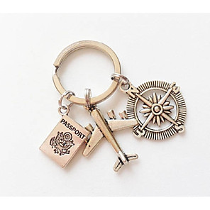 cheap Keychains-Keychain Airplane Vintage Fashion Ring Jewelry Silver For Daily Street