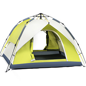 cheap Tents, Canopies & Shelters-BSwolf 2 person Automatic Tent Outdoor Windproof Rain Waterproof Breathability Double Layered Automatic Camping Tent 2000-3000 mm for Fishing Beach Camping / Hiking / Caving Oxford Cloth Waterproof