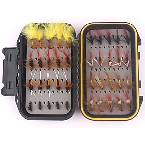 cheap Fishing Lures & Flies-40 pcs Flies Fishing Lures Sets Flies Handmade Light and Convenient Easy to Use Floating Sinking Bass Trout Pike Sea Fishing Fly Fishing Bait Casting Feathers Carbon Steel / Carp Fishing