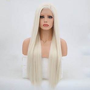 cheap Synthetic Lace Wigs-Synthetic Lace Front Wig Body Wave Kardashian Side Part Lace Front Wig Blonde Long Platinum Blonde Synthetic Hair 24 inch Women's Adjustable Heat Resistant Blonde Gray