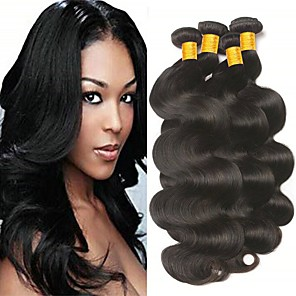 cheap Colored Hair Weaves-4 Bundles Hair Weaves Brazilian Hair Body Wave Human Hair Extensions Remy Human Hair 100% Remy Hair Weave Bundles 400 g Natural Color Hair Weaves / Hair Bulk Human Hair Extensions 8-28 inch Natural