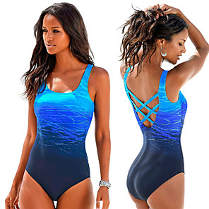 cheap Athletic Swimwear-Women's Back Cross One Piece Swimsuit Gradient Color Padded Bodysuit Swimwear Blue Purple Fuchsia Chlorine resistance Lightweight Quick Dry Sleeveless - Swimming Surfing Summer Fall / Spandex