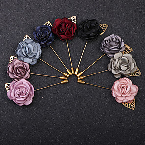 cheap Pins and Brooches-Women's Brooches Classic Stylish Roses Flower Vintage Fashion British Imitation Diamond Brooch Jewelry Wine Navy Black For Party Daily