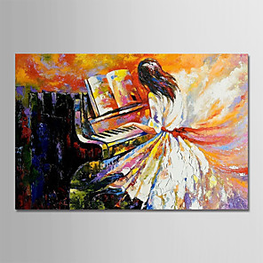 cheap Abstract Paintings-Oil Painting Hand Painted - People Modern Rolled Canvas