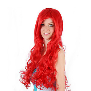 cheap Costume Wigs-Cosplay Costume Wig Synthetic Wig Cosplay Wig Ariel Mermaid Curly Bob Wig Long Watermelon Red Synthetic Hair 30 inch Women's Anime Cosplay Women Red