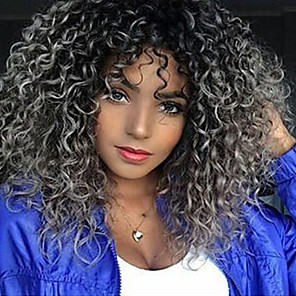 cheap Synthetic Trendy Wigs-Synthetic Wig Curly Middle Part Wig Medium Length Black / Grey Synthetic Hair 18 inch Women's Ombre Hair Middle Part For Black Women Gray