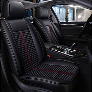 cheap Car Seat Covers-5 seats Black Four Seasons Car seat Full cover for Five seat car/PU Leather Material/Airbag compatibility/Adjustable and Removable/Such as family car, SUV.