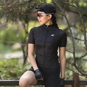 cheap Cycling Jerseys-Mysenlan Women's Short Sleeve Cycling Jersey Polyester White Black Polka Dot Bike Jersey Top Mountain Bike MTB Road Bike Cycling Sports Clothing Apparel / YKK Zipper
