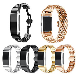cheap Smartwatch Bands-Watch Band for Fitbit Charge 2 Fitbit Sport Band Stainless Steel / Ceramic Wrist Strap