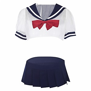 cheap Anime Costumes-Women's Sexy Uniforms & Cheongsams / Suits Nightwear - Lace / Cut Out, Cosplay Costumes Color Block / Patchwork White L XL XXL / V Neck