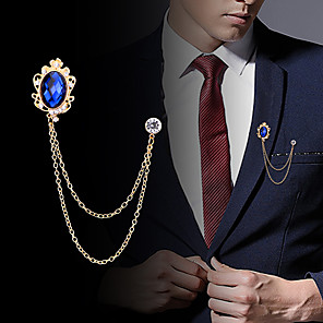 cheap Pins and Brooches-Men's Cubic Zirconia Brooches Stylish Link / Chain Creative Statement Fashion British Brooch Jewelry Black Royal Blue For Party Daily