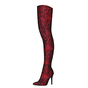 cheap Women's Boots-Women's Boots Over-The-Knee Boots Stiletto Heel Pointed Toe Lace Thigh-high Boots Fashion Boots / Slouch Boots Fall & Winter Black / Silver / Wine / Black / White / Party & Evening