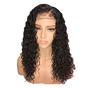 cheap Synthetic Lace Wigs-Synthetic Wig Synthetic Lace Front Wig Curly Layered Haircut Side Part Lace Front Wig Short Black#1B Dark Brown Synthetic Hair 18 inch Women's with Baby Hair Adjustable Natural Hairline Black