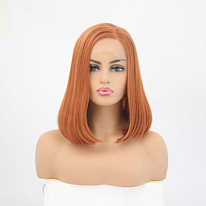 cheap Synthetic Lace Wigs-Synthetic Lace Front Wig Straight Side Part Lace Front Wig Long Orange Synthetic Hair 12-14 inch Women's Adjustable Heat Resistant Party Brown