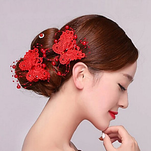"cheap Hair Accessories-Pins Hair Accessories Textile / Pearl Wigs Accessories Women's 2pcs pcs 5 1/2"" (14 cm) cm Party / Wedding Party Retro Handmade / Classic"