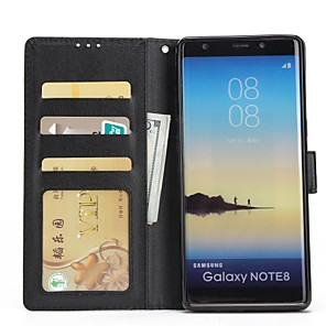 cheap Samsung Case-Case For Samsung Galaxy Note 8 / Note 5 / Note 4 Wallet / Card Holder / with Stand Full Body Cases Solid Colored Hard PU Leather