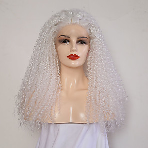 cheap Synthetic Trendy Wigs-Synthetic Lace Front Wig Curly Middle Part Lace Front Wig Long White Synthetic Hair 24 inch Women's Adjustable Heat Resistant White