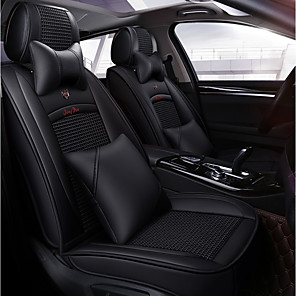 cheap Car Seat Covers-Four seasons universal black  five-seat car seat cushion/ice silk material and PU leather/fiadjustable and removable/two pillows/two waist pads