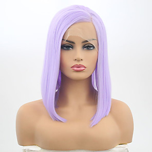 cheap Synthetic Lace Wigs-Synthetic Lace Front Wig Matte Bob Lace Front Wig Short Purple Synthetic Hair 12 inch Women's Adjustable Heat Resistant Purple