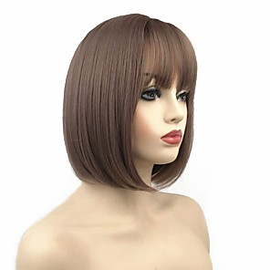 cheap Synthetic Trendy Wigs-Synthetic Wig Straight Short Bob Wig Short Auburn Brown Natural Black Synthetic Hair 10 inch Women's Synthetic Black Brown