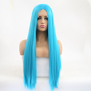 cheap Synthetic Lace Wigs-Synthetic Lace Front Wig Silky Straight Middle Part Lace Front Wig Long Sky Blue Synthetic Hair 24 inch Women's Adjustable Heat Resistant Party Blue