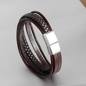 cheap Engraved Bracelets-Men's Cuff Bracelet Wrap Bracelet Leather Bracelet Vintage Style Braided Creative Ribbon Statement Personalized Trendy Genuine Leather Bracelet Jewelry Black / Brown For Daily Holiday / Loom Bracelet