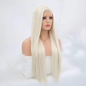 cheap Synthetic Trendy Wigs-Synthetic Lace Front Wig Straight Side Part Lace Front Wig Blonde Long Platinum Blonde Synthetic Hair 24-26 inch Women's Adjustable Heat Resistant Blonde